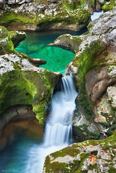 emerald pool in mostnica gorge, slovenia by andres resch via here