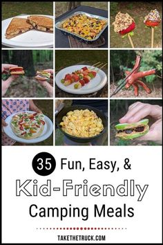 These 35 camping meals for kids are organized into camping breakfasts, lunches, dinners, plus healthy camping snacks and fun kid friendly desserts. Tons of fun camping food ideas for kids! Healthy Camping Snacks, Easy Camping Breakfast, Camping Meals For Kids, Camping Lunches, Camping Menu, Backpacking Food, Kids Meals, Camping Recipes, Camping Foods