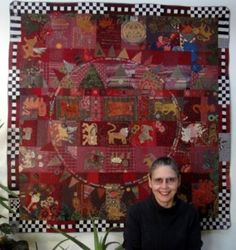 """Jude Hill: The """"Lion Quilt"""" (2004-2010) is ... for me, the most important piece that I ever made in that it was the beginning of what I call spirit cloth, which is now my direction in quilt making. Although I've sewed for many years ... this quilt was meant to be ... a documentary in that it contains many of the different techniques that I know and have developed. It also records the story of my life, with stories about the people that I know. I think it is a story cloth, my story."""""""