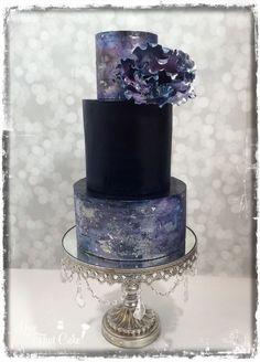 Navy blue iridescent watercolor effect