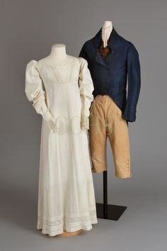 Dress, 1815-1824 Tail Coat, 1790 - 1800 Breeches, 1780-1810 Vest, 1815-1830 Chester County Historical Society