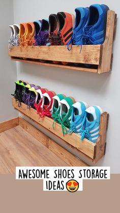 Wall Shoe Rack, Wall Mounted Shoe Rack, Wooden Shoe Racks, Diy Shoe Rack, Pallet Shoe Racks, Shoe Rack Hacks, Pvc Shoe Racks, Garage Shoe Rack, Wood Projects
