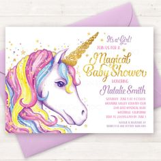 Baby Shower Invitation Unicorn Printable Invite Party Girl