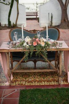 Vintage Garden Sweetheart Table | Photo by Brett Hickman
