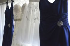 Wedding dress along with bridesmaids and flower girl.