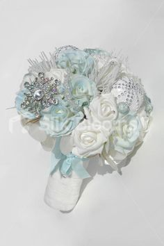 Blue and White Wedding Bouquets | Blue and White Rose Icicle Christmas Winter Wedding Bouquet Icy Blue ...
