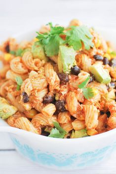 Southwestern Pasta Salad - my favorite pasta salad recipe! Corn, black beans, salsa, and avocado make it extra delicious!
