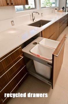 In the island- Mid Century Modern Kitchen Remodel - modern - kitchen - seattle - BUILD LLC Corner Sink Kitchen, Kitchen Sink Design, Modern Kitchen Design, Home Decor Kitchen, Diy Kitchen, Kitchen Interior, Kitchen Storage, Kitchen Cabinets, Kitchen Ideas