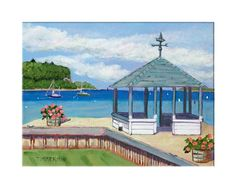 """""""View From The Gazebo"""" reproduction print of an acrylic painting by Barb Timmerman."""