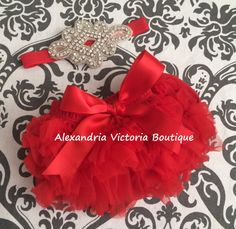 RED BLOOMER SET baby headband and chiffon by AlexandriaVictoria