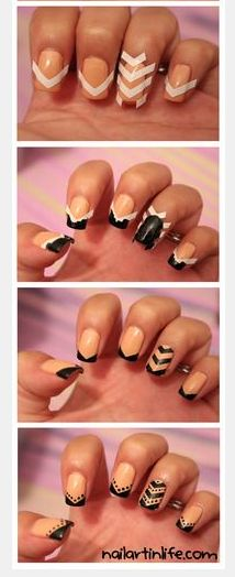 How to: chevron/arrow nail art with tape