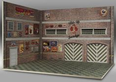 Pin Up Garage Diorama Paper Model In 1/64 Scale - by HW Custom - == -  Created by Brazilian designer and modeler Alexk25, from HW Custom website, this really nice Pin Up Garage diorama In 1/64 Scale is perfect for Hot Wheels, Matchbox and similar miniatures.