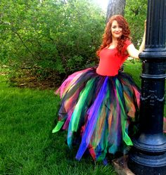 Black and Neon Galaxy Colorful Rainbow Full Length Adult Tutu Skirt