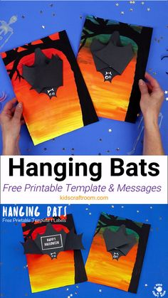 This Hanging Bat Craft for kids is so fun. Open the bat's wings to reveal a spooky message! Such a cool Halloween craft for kids.) halloween Hanging Bat Craft For Kids Halloween Kunst, Halloween Art Projects, Halloween Arts And Crafts, Fall Art Projects, Halloween Tags, Theme Halloween, Halloween Activities, Bat Activities For Kids, Halloween Crafts Kindergarten