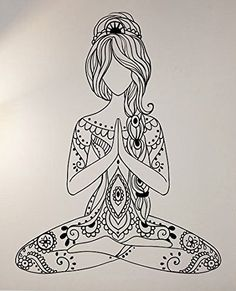 Amazon.com - Meditating Wall Decal Vinyl Art Home Decor Yoga Om Good Vibes Energy -