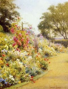 Harry E. Summer Garden, Home And Garden, Herbaceous Border, Art Gallery, Flowers, British, Essentials, Gardens, Painting