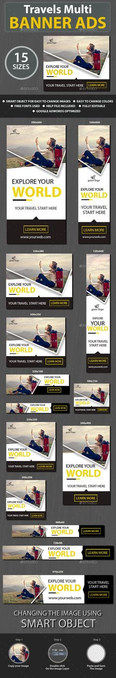 Buy Travels Web Banner Ads by mannandesigner on GraphicRiver. Travels-Web Banner ads to get you going on your campaigns and web promotions, the set comes in 15 sizes in flat style. Web Design, Web Banner Design, Web Banners, Marketing, Google Banner, Digital Banner, Banner Template, Free Banner, Display Ads