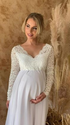 Maternity Wedding Dresses, Wedding Dresses Pregnant Brides, Cute Maternity Dresses, Long Sleeve Maternity Dress, V Neck Wedding Dress, Maternity Fashion, Bridal Dresses, Wedding Gowns, Breastfeeding Dress