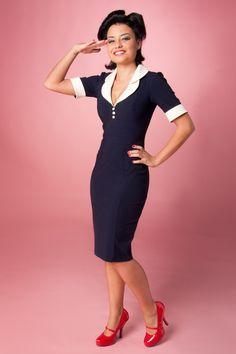 Hybrid - Hybrid - Chantelle Pencil dress in Navy Cream