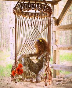 handmade ooak macrame vintage retro style hanging woodstock hippie elf fairy chair.  You can take the child out of the 60's but ... that 60's child's heart will remain there.