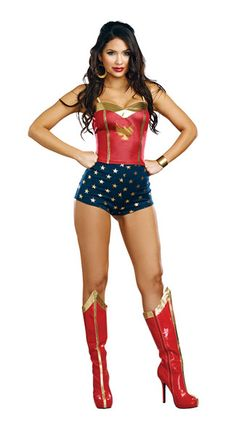 You'll look wondrous in this justice costume top featuring a red bodice, a gold sweetheart neckline, spaghetti straps, gold piping accents, and a gold eagle detail, These wonderful Super Star Justice Costume Shorts will be the perfect addition to your super hero costume, featuring a pair of navy blue high-waisted shorts with metallic gold star pattern.  Justice Super Star Costume, Justice Top, superhero top, women's superhero top, women's sexy superhero top, women's costume superhero top…