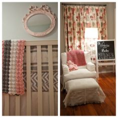 Baby girl's pink and gray nursery