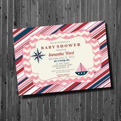 Baby Shower Invitation-Printable-Nautical-Girl-Stripes-Birthday invite on Etsy, $12.06