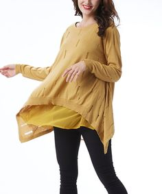 Look at this Simply Couture Mustard Layered Distressed Sidetail Tunic on #zulily today!