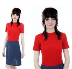 60s Mod Wool Dress Vintage 70s Red Blue Jean by neonthreadsdesigns, $38.00   I like her haircut:)
