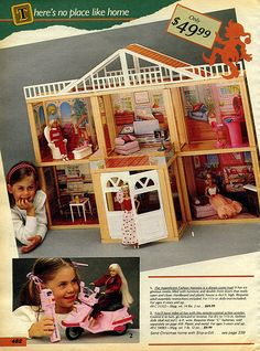1985 Sears Wishbook Magical Fashion Mansion Barbie by Meritus W/Box & Furniture Barbie Room, Barbie House, 1980s Kids, Vintage Barbie Dolls, Barbie Collector, Barbie World, New Kids, Christmas Wishes, Kids Toys