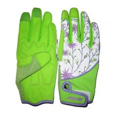 HY1502B -Lime Green Synthetic Leather Touchscreen Garden Gloves