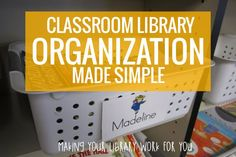 Make classroom library organization easy. 50 free matching book and basket labels to organize your classroom library for kindergarten.