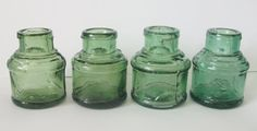 Set of 4 Antique Green Coloured Glass Ink Bottles, Round Shape, Great Display Project Items