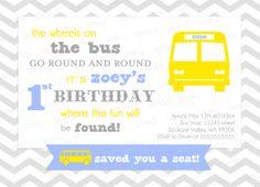 Custom - SCHOOL BUS Birthday Invitation - Printable boy or girl