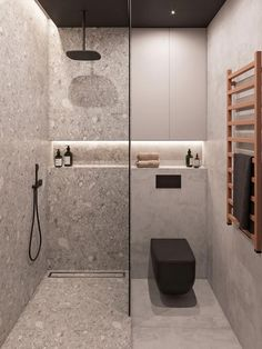 Penthouse Interior Design With Orange Accents Bright orange home accents add vibrancy to a seriously sophisticated decor scheme of dark wood slat walls & grey decor - all lit by a cosy home lighting scheme. Bathroom Design Luxury, Bathroom Layout, Modern Bathroom Design, Bathroom Cabinets, Bathroom Mirrors, Master Bathrooms, Bath Design, Bathroom Small, Tiny Bathrooms