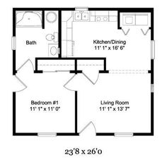 Elder Cottages-- love the floor plans for these and wheelchair accessible! Elder Cottages-- love the floor plans for these and wheelchair accessible! Cottage Floor Plans, Cabin Floor Plans, Cottage Plan, Small House Plans, 1 Bedroom House Plans, Cottage House, Granny Pods, In Law House, Barndominium Floor Plans