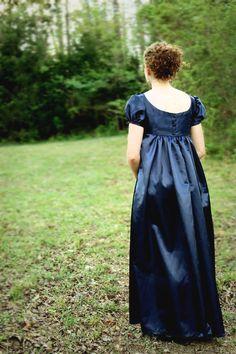 Navy Blue, Crossed Neckline Regency Dress, Formal Ball Gown, and Reenactment Costume Regency Dress, Regency Era, Style Empire, Civil War Dress, Into The Fire, Pride And Prejudice, Vintage Dresses, Victorian Dresses, Victorian Gothic