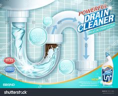 Drain cleaner ads, water pipe detergent with clear pipes section in illustration water Medical Brochure, Drain Cleaner, Graphic Design Projects, Water Pipes, Royalty Free Photos, Booklet, Infographic, Presentation, Logo Design