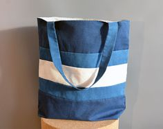 Striped blue-white tote bag by Apozi on Etsy