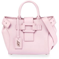 Roger Vivier Pilgrim de Jour Small Tote Bag ($2,395) ❤ liked on Polyvore featuring bags, handbags, tote bags, pink, zip purse, pink tote, pink handbags, studded tote and pink tote bags