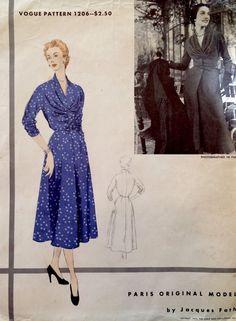 1950's Vintage Vogue Paris Original Jacques Fath Dress Pattern 1206
