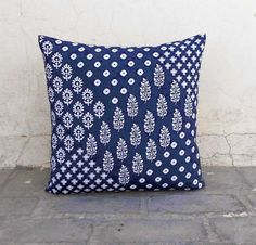Cushion Covers – Indigo block print cotton cushion cover – a unique product by…