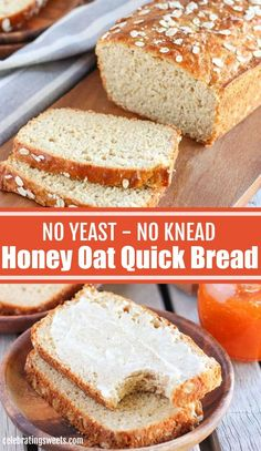 Honey Oat Bread (NO YEAST NO KNEAD) This tender and delicious Honey Oat Bread requires no yeast and it comes together in under an hour. Quick Bread Recipes, Bread Machine Recipes, Easy Bread, Baking Recipes, Oat Bread Recipe, Fast Recipes, Chef Recipes, Recipies, Yeast Free Breads