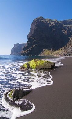 Playa de Masca ~ is a wonderful isolated beach with volcanic sand and turquoise waters. in Tenerife, Canary Islands. Places Around The World, Oh The Places You'll Go, Places To Travel, Places To Visit, Around The Worlds, Canaries Tenerife, Photos Voyages, Canary Islands, Spain Travel