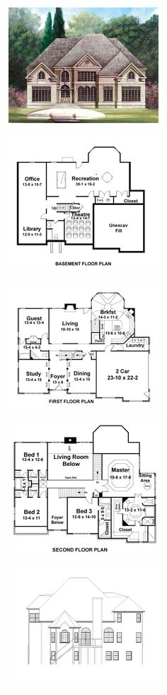 Greek Revival House Plan 72025 | Total Living Area: 3254 sq. ft., 5 bedrooms and 4 bathrooms. #greekrevivalhome