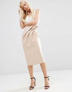Falda de tubo con cintura paperbag y diseño texturizado de ASOS