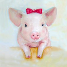Pink Pig Wall Art Print Shabby Chic Decor by NickiNickiGallery