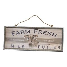 "A perfect addition to your farmhouse motif this distressed wood sign features a metal frame and a rope hanger. Wood ""Farm Fresh"" Wall Sign Panels Brown x - Vip Home & Garden"