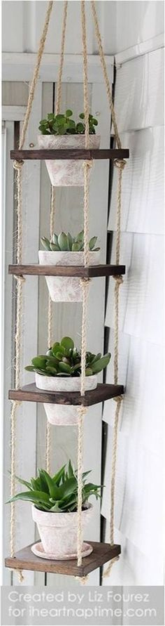 Learn how to make an easy DIY Vertical Plant Hanger! Perfect for small spaces! >>> undefined #HomeDecorIdeas