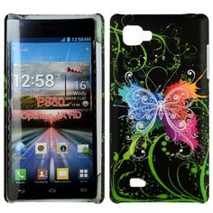 Valentine (Center Regnbue Butterfly - Sort) LG Optimus 4X HD Cover